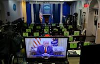 President Donald Trump spoke in a video posted on the White House Twitter feed, as seen in the empty White House press briefing room