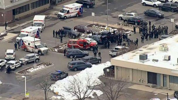 PHOTO: Ambulances and responders gather near the site of a reported shooting in Boulder, Colo., March 22, 2021. (KMGH)