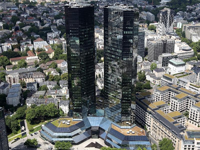 The Frankfurt am Main headquarters of Deutsche Bank, which will pay $2.5 billion in fines after admitting its guilt in a multi-bank conspiracy to rig LIBOR interest rates (AFP Photo/Daniel Roland)