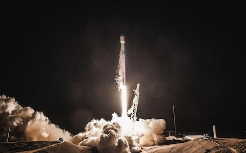 A Falcon 9 rocket is launched with Spain's PAZ, a radar-imaging satellite, and two SpaceX test satellites for global broadband - Credit: Barcroft