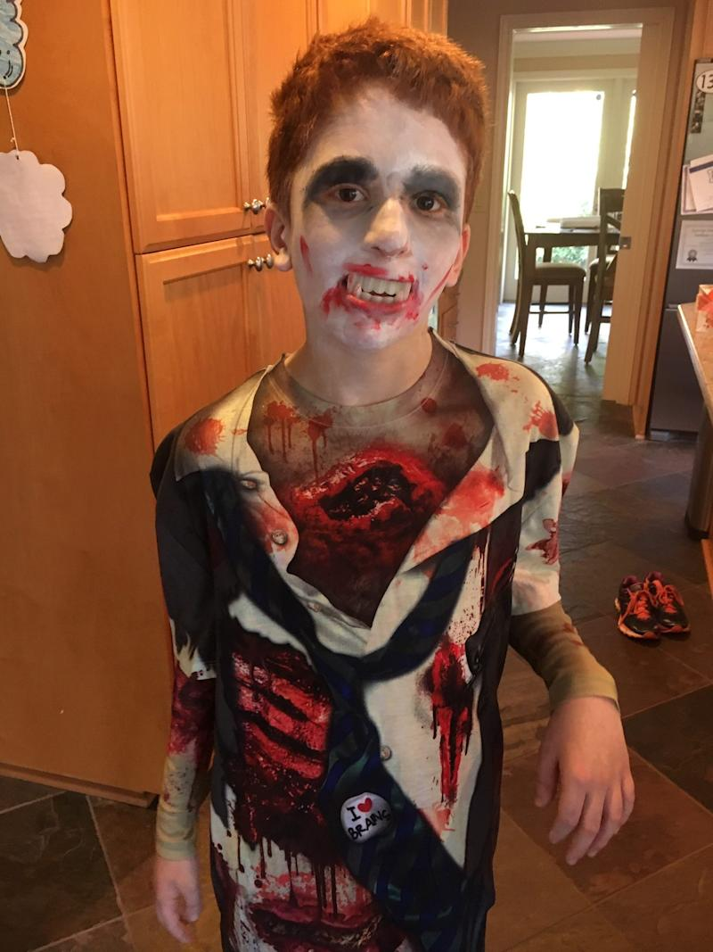 Nate dressed as a zombie for Halloween.