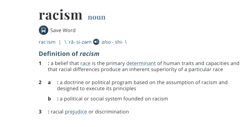 Merriam-Webster's definition of racism will be revised and updated in the coming months. Source: Merriam-Webster