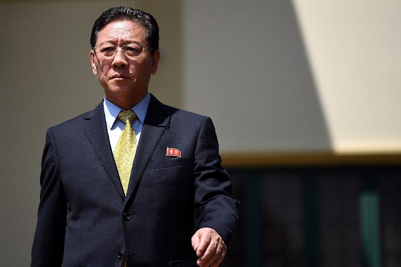 Kang Chol, North Korea's ambassador to Malaysia, is expected to leave the country before a Monday 6pm deadline (AFP Photo/Manan VATSYAYANA)