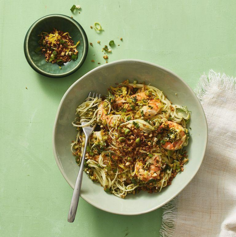 """<p>You don't need poultry or red meat to have a flavor-packed lunch. This shrimp pasta is briny, herby, and bathed in fresh lemon juice for a dish that you'll want to have every day. </p><p><em><a href=""""https://www.womansday.com/food-recipes/a32303409/green-olive-shrimp-pasta-recipe/"""" rel=""""nofollow noopener"""" target=""""_blank"""" data-ylk=""""slk:Get the Green Olive Shrimp Pasta recipe."""" class=""""link rapid-noclick-resp"""">Get the Green Olive Shrimp Pasta recipe.</a></em><br></p>"""
