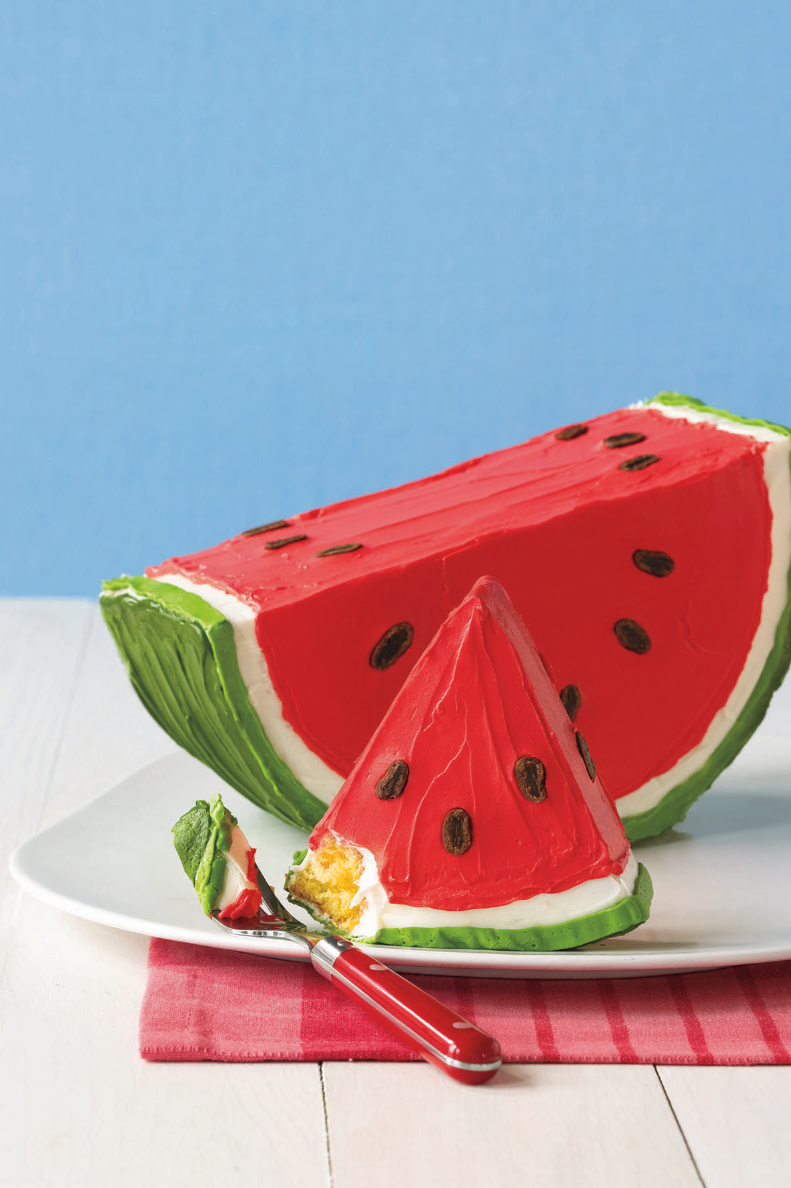 """<p>This fakeout cake is an ode to summer's favorite fruit.</p><p><em><a href=""""https://www.womansday.com/food-recipes/food-drinks/recipes/a11248/watermelon-cake-recipe-122677/"""" rel=""""nofollow noopener"""" target=""""_blank"""" data-ylk=""""slk:Get the recipe from Woman's Day »"""" class=""""link rapid-noclick-resp"""">Get the recipe from Woman's Day »</a></em></p><p><strong>RELATED: </strong><a href=""""https://www.goodhousekeeping.com/food-recipes/easy/g3691/watermelon-recipes-and-ideas/"""" rel=""""nofollow noopener"""" target=""""_blank"""" data-ylk=""""slk:50 Genius Things to Do With Watermelon"""" class=""""link rapid-noclick-resp"""">50 Genius Things to Do With Watermelon</a><br></p>"""