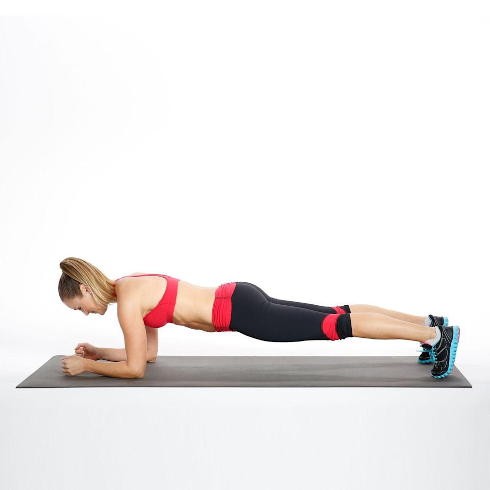 <ul> <li>From an Elbow Plank position, slowly rotate the spine to lower your right hip to just above the floor. Come back to Elbow Plank.</li> <li>Now lower the left hip toward the floor.</li> <li>This counts as 1 rep.</li> </ul>