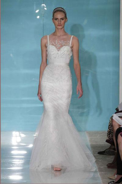 """<div class=""""caption-credit""""> Photo by: Reem Acra</div><div class=""""caption-title"""">14. Reem Acra</div>For the fashionista bride, this illusion mermaid by Reem Acra is divine. We love the subtle sparkle! <br> <br> Check out more gorgeous styles in our <a rel=""""nofollow noopener"""" href=""""http://www.bridalguide.com/photo-galleries/bridal-gowns/reem-acra/style-1"""" target=""""_blank"""" data-ylk=""""slk:Reem Acra gown gallery"""" class=""""link rapid-noclick-resp"""">Reem Acra gown gallery</a>!"""
