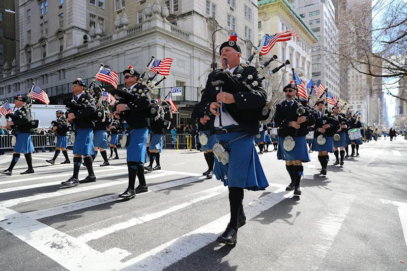 Members of the FDNY EMS Pipes and Drums marches in the 2019 NYC St. Patrick's Day Parade, March 16, 2019. (Photo: Gordon Donovan/Yahoo News)