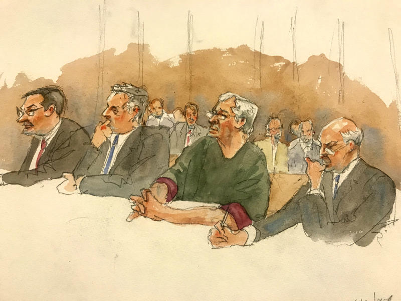 "In this courtroom sketch, defendant Jeffrey Epstein, second from right, listens along with defense attorneys, from left, Marc Fernich, Michael Miller, and Martin Weinberg as Judge Richard M. Berman denies him bail during a hearing in federal court, Thursday, July 18, 2019 in New York. Judge Berman denied bail for the jailed financier on sex trafficking charges, saying the danger to the community that would result if the jet-setting defendant was free formed the ""heart of this decision."" (Aggie Kenny via AP)"