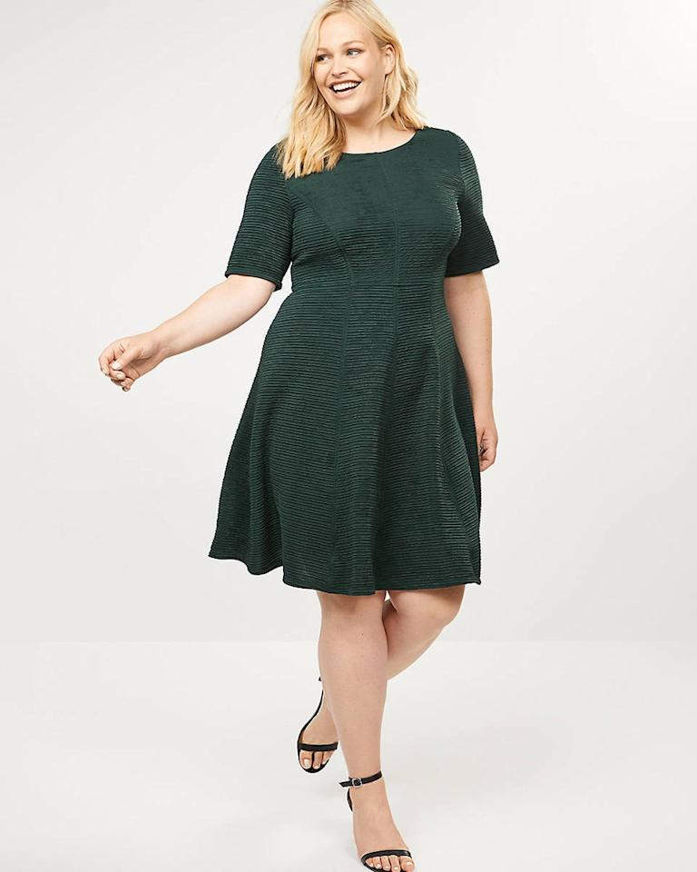"$47.97, Lane Bryant. <a href=""https://www.lanebryant.com/textured-fit-flare-dress/prd-357349#color/0000001764"">Get it now!</a>"