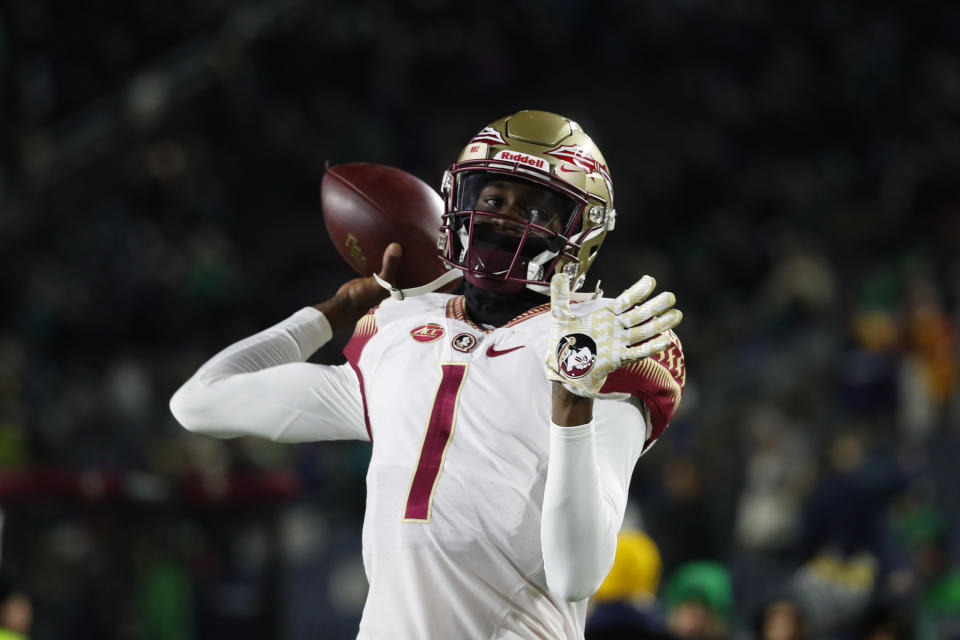 Florida State quarterback James Blackman throws before an NCAA college football game against Notre Dame in South Bend, Ind.,Saturday, Nov. 10, 2018. (AP Photo/Paul Sancya)