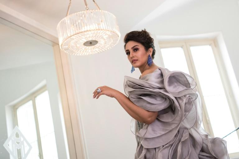 """Huma Qureshi wore an elaborate ruffled silver-grey creation by Indian designer Gaurav Gupta for the red carpet premiere of """"A Hidden Life"""""""