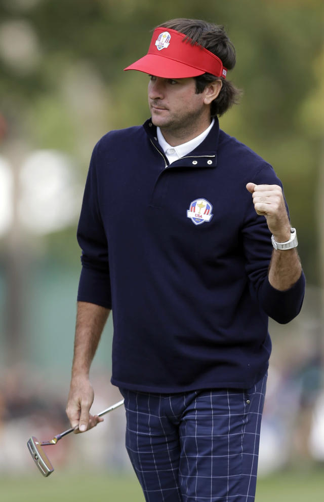 USA's Bubba Watson reacts after making a birdie putt on the third hole during a four-ball match at the Ryder Cup PGA golf tournament Friday, Sept. 28, 2012, at the Medinah Country Club in Medinah, Ill. (AP Photo/David J. Phillip)