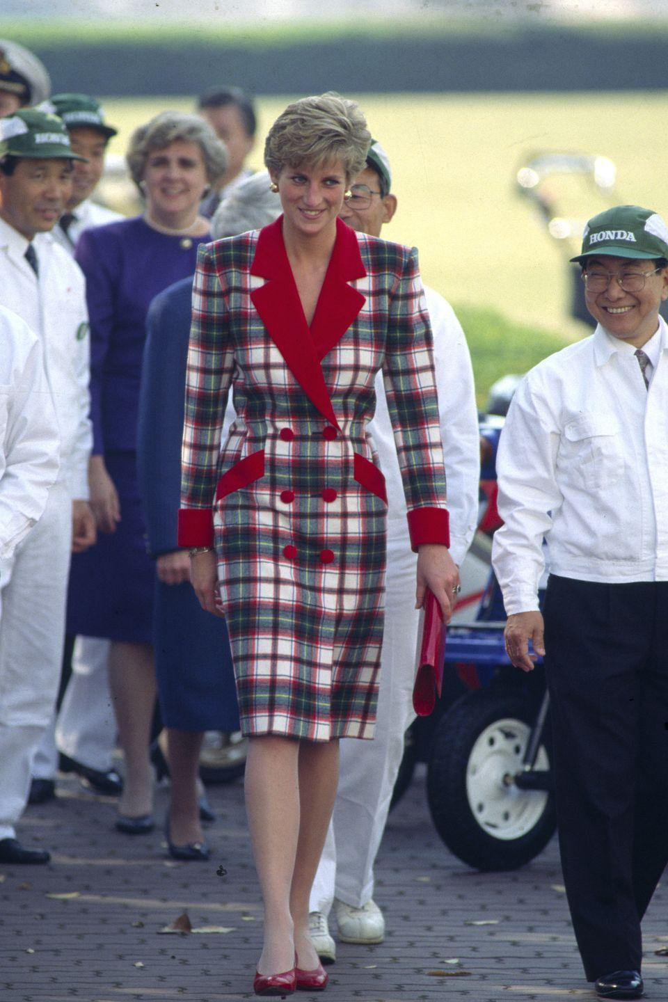 <p>Here's another tartan gem by Catherine Walker from 1990.</p>