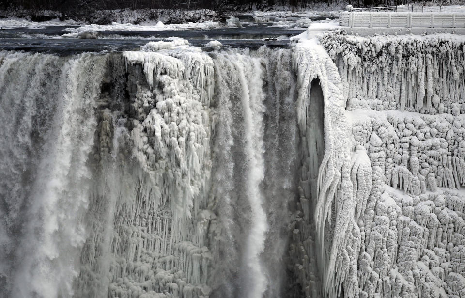 The U.S. side of the Niagara Falls is pictured in Ontario, January 8, 2014.  The frigid air and