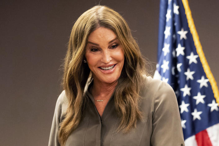 FILE — In this July 9, 2021 file photo realty tv personality Caitlyn Jenner, a Republican candidate for California governor, speaks during a news conference in Sacramento, Calif. Four of the high-profile Republican candidates, who are seeking to replace Gov. Gavin Newsom in next months recall election, are heading into their first televised debate, to be held Wednesday, Aug. 4, 2021. Jenner and Conservative talk radio host Larry Elder will not attend the debate. (AP Photo/Noah Berger, File)