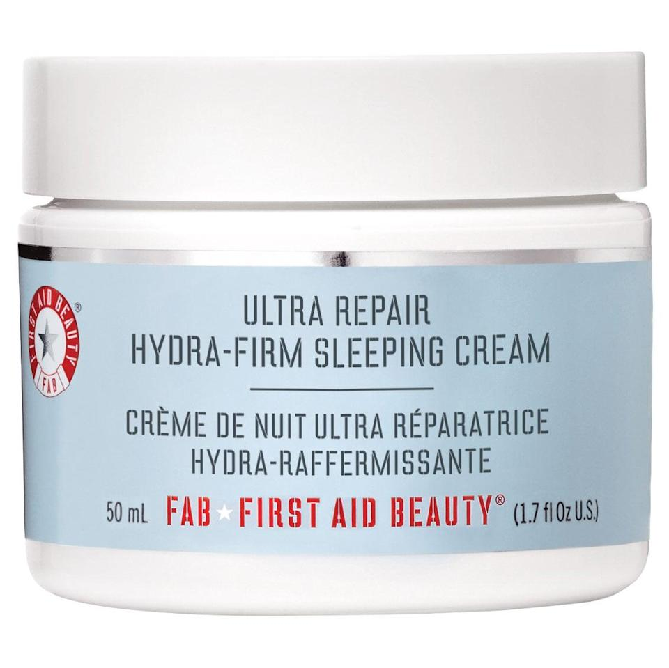 <p>This thick miracle worker is so thick it veers more toward solid than liquid. Its promises to hydrate, soothe, and firm are not empty! You may need a spoon to scoop it out of the jar, but your skin will thank you.</p> <p><span>First Aid Beauty Ultra Repair Hydra-Firm Sleeping Cream</span> ($38)</p>