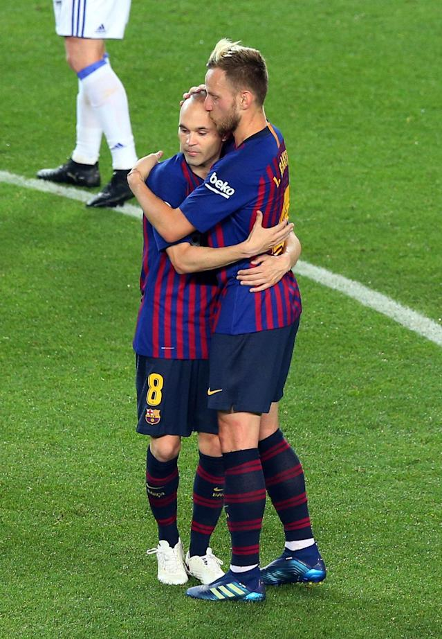 Soccer Football - La Liga Santander - FC Barcelona vs Real Sociedad - Camp Nou, Barcelona, Spain - May 20, 2018 Barcelona's Andres Iniesta with Ivan Rakitic REUTERS/Albert Gea
