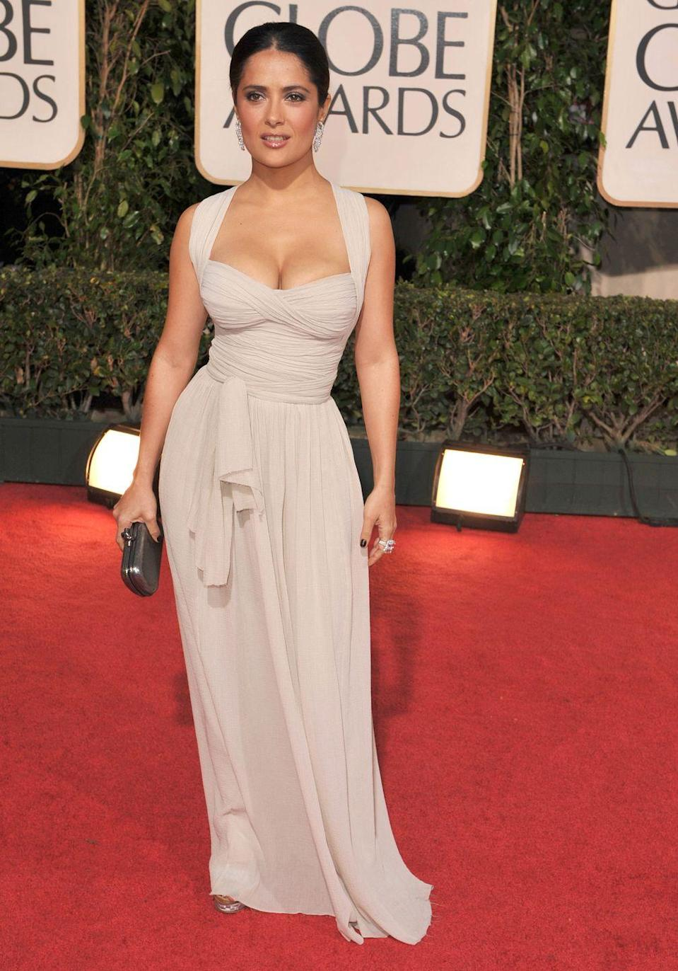 <p>In 2009, Salma Hayek gave off sleek, sophisticated vibes in this Bottega Veneta gown with a skintight bodice. </p>