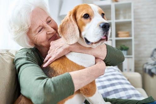 """<span class=""""caption"""">Research shows that pets may support mental health for some people.</span> <span class=""""attribution""""><a class=""""link rapid-noclick-resp"""" href=""""https://www.shutterstock.com/image-photo/cheerful-retired-senior-woman-wrinkles-smiling-1075458587"""" rel=""""nofollow noopener"""" target=""""_blank"""" data-ylk=""""slk:SeventyFour"""">SeventyFour</a></span>"""