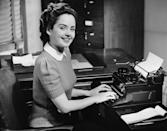 <p>Commercial typewriters were first introduced in 1874, but they were used well into the 1980's before being replaced by computers. Here, a secretary types up notes from a meeting using a mechanical typewriter.</p>