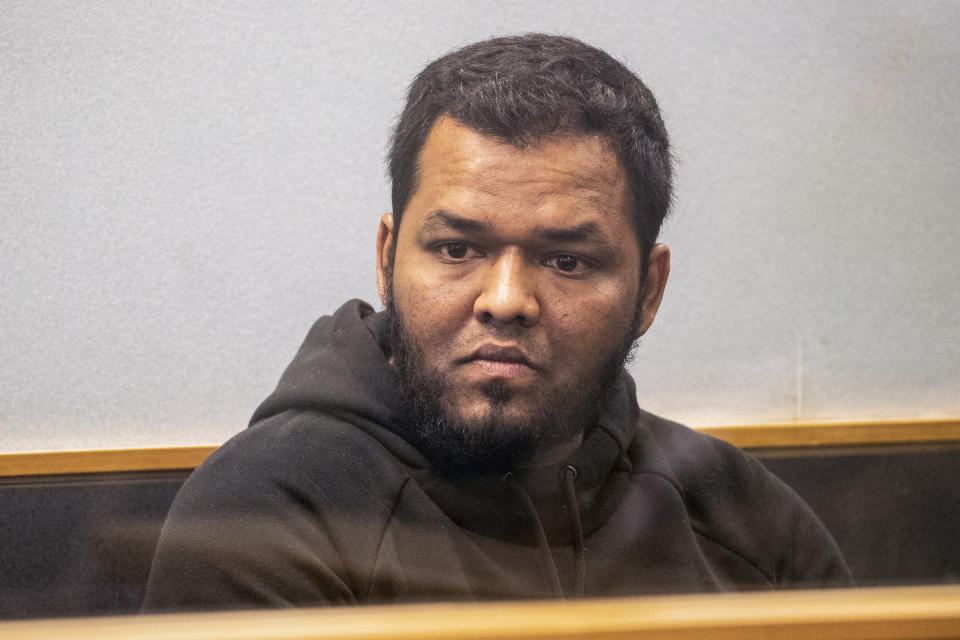 Ahmed Aathill Mohamed Samsudeen appears in the High Court in Auckland, New Zealand, Aug. 7, 2018, after he was found possessing a series of images which depict extreme violence, cruelty, death and graphic war scenes. The New Zealand government has named 32-year-old Samsudeen as the extremist who was shot and killed by police after he attacked people in an Auckland supermarket, Friday, Sept. 3, 2021, with a knife, injuring seven. (Greg Bowker/New Zealand Herald via AP)