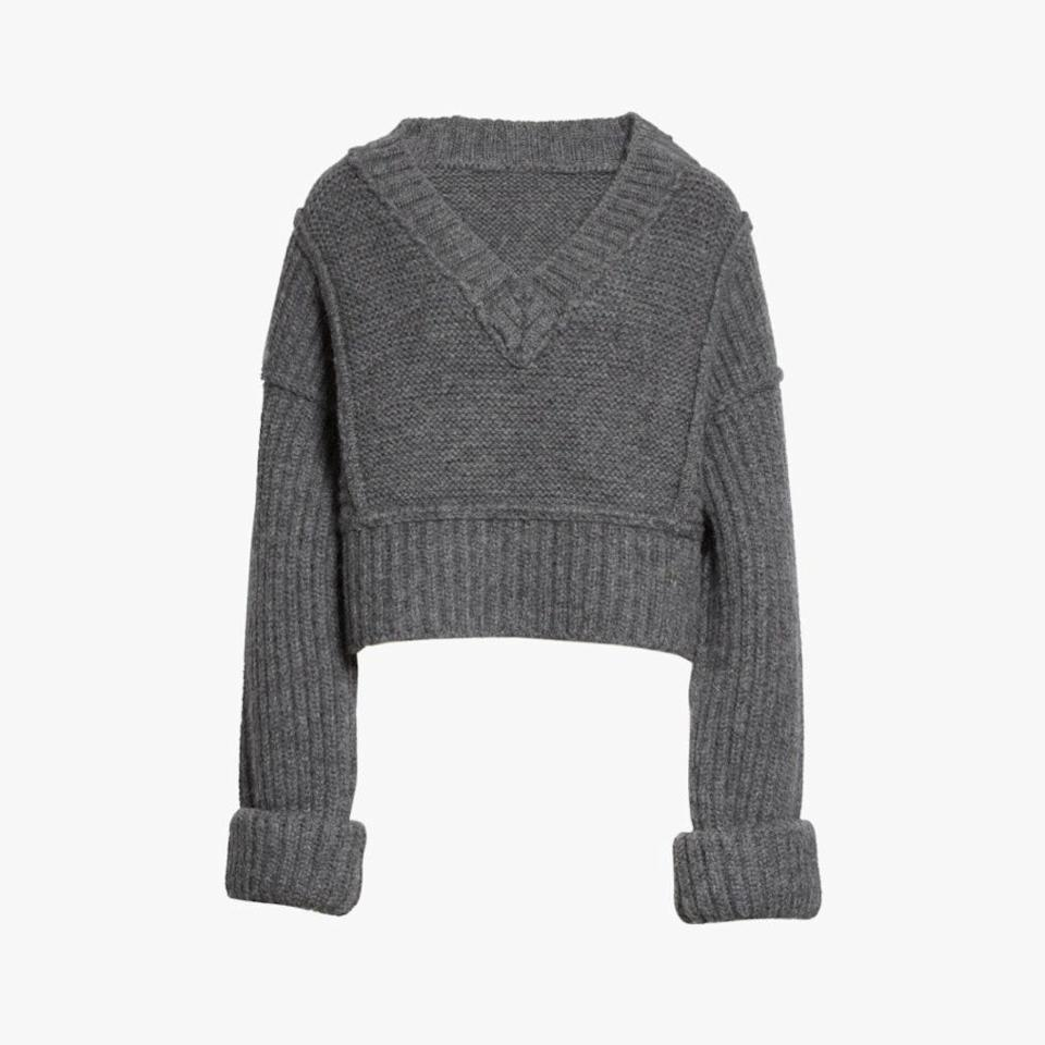 """The cropped hem gives this chunky Jacquemus sweater balance. $500, NORDSTROM. <a href=""""https://www.nordstrom.com/s/jacquemus-cavaou-wool-blend-crop-sweater/5606307?origin=category-personalizedsort&breadcrumb=Home%2FDesigner%2FSPACE%3A%20Emerging%20%26%20Advanced%20Designer%2FShop%20All&color=anthracite"""" rel=""""nofollow noopener"""" target=""""_blank"""" data-ylk=""""slk:Get it now!"""" class=""""link rapid-noclick-resp"""">Get it now!</a>"""