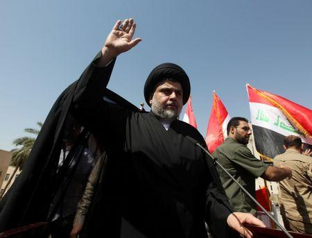 Iraqi Shi'ite cleric Moqtada al-Sadr is seen during a protest against corruption at Tahrir Square in Baghdad