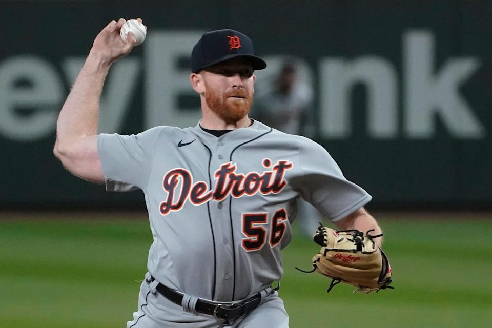 Detroit Tigers starting pitcher Spencer Turnbull throws to a Seattle Mariners batter during the seventh inning of a baseball game Tuesday, May 18, 2021.