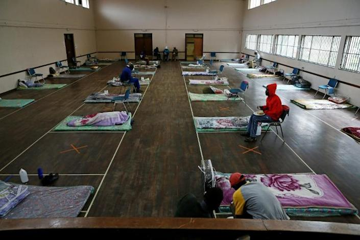 Haven: The Lyttelton Community Hall in Pretoria, one of a number of temporary shelters for the city's homeless during the coronavirus lockdown (AFP Photo/Phill Magakoe)