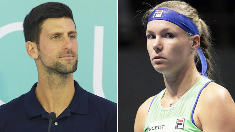Kiki Bertens (pictured right) has questioned Novak Djokovic's (pictured left) and the Adria Tour for occurring during the coronavirus pandemic. (Getty Images)