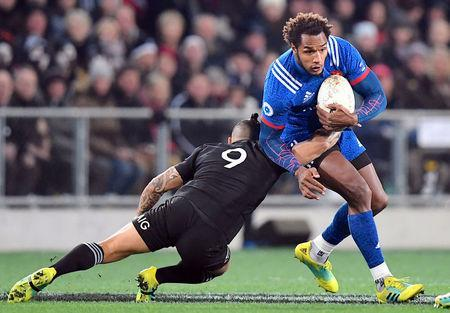 Rugby Union - June Internationals - New Zealand vs France - Forsyth Barr Stadium, Dunedin, New Zealand - June 23, 2018 - Benjamin Fall of France is tackled by Aaron Smith of New Zealand. REUTERS/Ross Setford