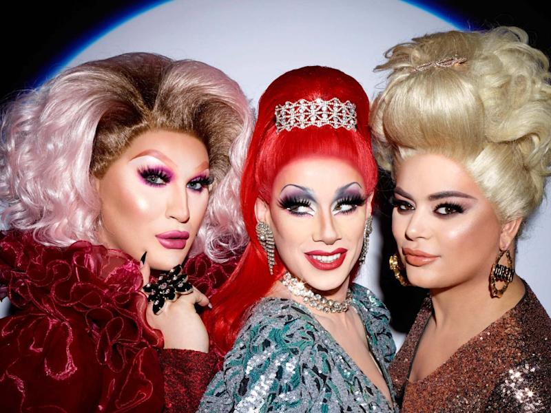 RuPaul's Drag Race UK finalists (left to right) The Vivienne, Divina De Campo and Baga Chipz MBE: Drag Race UK x Rankin for Grazia/Grazia/PA Wire