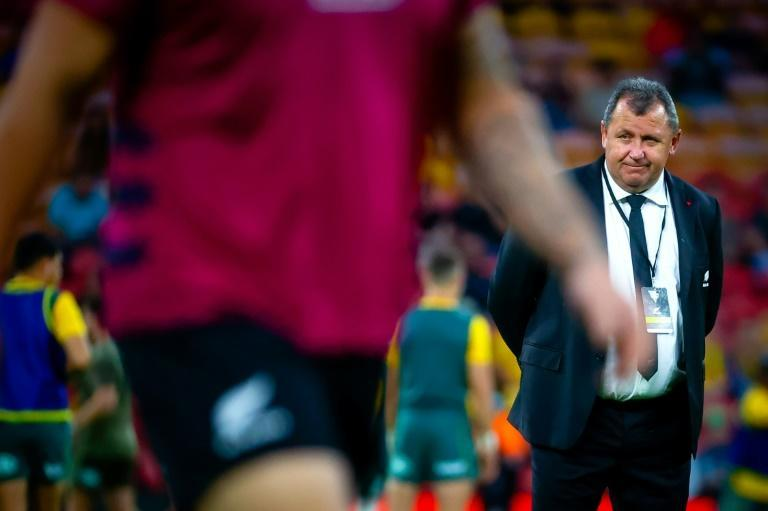 New Zealand's head coach Ian Foster looks on before the Tri-Nations and Bledisloe Cup rugby match between Australia and New Zealand in Brisbane on November 7, 2020