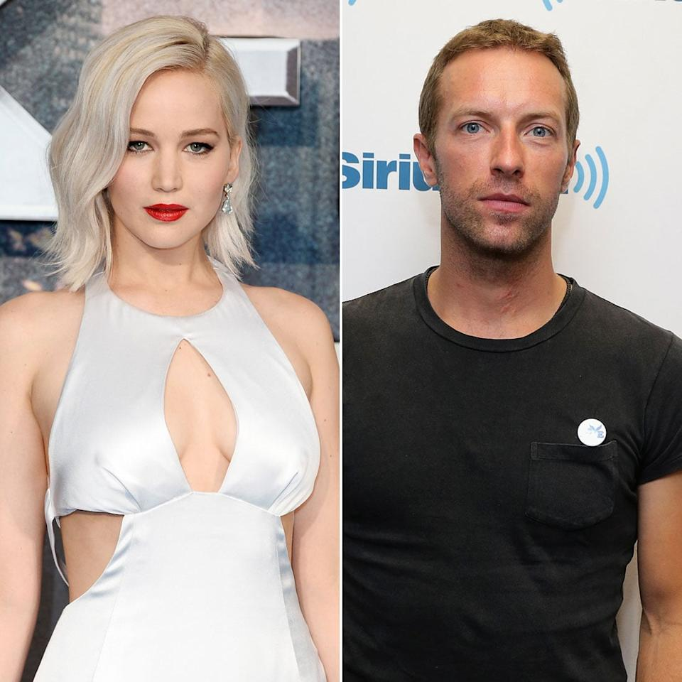 """<p>Shortly after Jen's romance with Nicholas Hoult ended, <a href=""""https://www.popsugar.com/celebrity/Jennifer-Lawrence-Dating-Chris-Martin-35487219"""" target=""""_blank"""" class=""""ga-track"""" data-ga-category=""""Related"""" data-ga-label=""""http://www.popsugar.com/celebrity/Jennifer-Lawrence-Dating-Chris-Martin-35487219"""" data-ga-action=""""In-Line Links"""">she moved on with Coldplay frontman Chris Martin</a> in June 2014. As Chris is the ex-husband of <a class=""""sugar-inline-link ga-track"""" title=""""Latest photos and news for Gwyneth Paltrow"""" href=""""https://www.popsugar.com/Gwyneth-Paltrow"""" target=""""_blank"""" data-ga-category=""""Related"""" data-ga-label=""""https://www.popsugar.com/Gwyneth-Paltrow"""" data-ga-action=""""&lt;-related-&gt; Links"""">Gwyneth Paltrow</a> (although their divorce wasn't yet finalized when he and Jen started dating), many fans were surprised by the seemingly unlikely pairing. The two didn't seem to notice all the outside talk, however, and they were soon spotted spending time together all over the place. In addition to low-key dates in LA, <a href=""""https://www.popsugar.com/celebrity/Jennifer-Lawrence-Chris-Martin-iHeartRadio-Pictures-35764177"""" target=""""_blank"""" class=""""ga-track"""" data-ga-category=""""Related"""" data-ga-label=""""http://www.popsugar.com/celebrity/Jennifer-Lawrence-Chris-Martin-iHeartRadio-Pictures-35764177"""" data-ga-action=""""In-Line Links"""">Jen supported Chris at his concerts</a> and they even <a href=""""https://www.popsugar.com/celebrity/Jennifer-Lawrence-Chris-Martin-Together-Photos-35788447"""" target=""""_blank"""" class=""""ga-track"""" data-ga-category=""""Related"""" data-ga-label=""""http://www.popsugar.com/celebrity/Jennifer-Lawrence-Chris-Martin-Together-Photos-35788447"""" data-ga-action=""""In-Line Links"""">traveled on a private jet together</a>. Unfortunately, things didn't last. <a href=""""https://www.popsugar.com/celebrity/Jennifer-Lawrence-Chris-Martin-Break-Up-36004578"""" target=""""_blank"""" class=""""ga-track"""" data-ga-category=""""Related"""" data-ga-label=""""http://www.popsugar.com/celebrity/Jennifer-Lawrence-Chris-"""