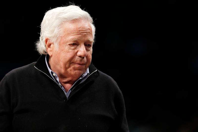 FILE - In this April 10, 2019, file photo, New England Patriots owner Robert Kraft leaves his seat during an NBA basketball game between the Brooklyn Nets and the Miami Heat, in New York. Prosecutors intend to release undercover video of Robert Kraft and others allegedly receiving sex acts at a Florida massage parlor, but that won't be soon or perhaps ever. The Palm Beach County State Attorney's Office filed a notice Wednesday, April 17, 2019, saying it believes the videos are public records under Florida law and it plans to release pixilated versions. Spokesman Mike Edmondson said the release is not imminent, as the office is processing numerous public records in the case. Kraft's attorneys filed an emergency motion Wednesday to block the release. (AP Photo/Kathy Willens, File)