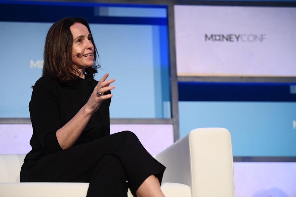 Dublin , Ireland - 12 June 2018; Sarah Friar, CFO, Square, on Centre Stage during day one of MoneyConf 2018 at the RDS Arena in Dublin. (Photo By Stephen McCarthy/Sportsfile via Getty Images)