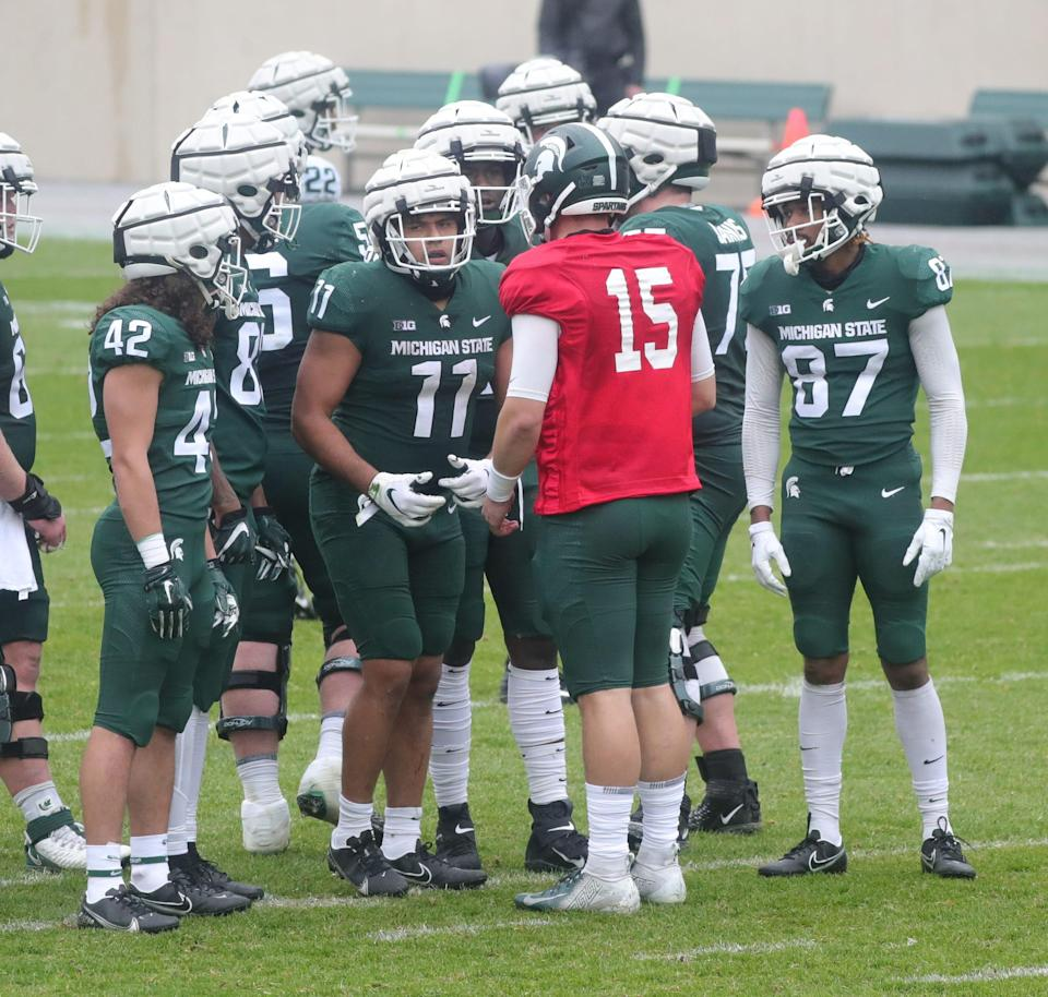 Michigan State quarterback Anthony Russo runs the offense during the spring game Saturday, April 24, 2021 at Spartan Stadium in East Lansing.