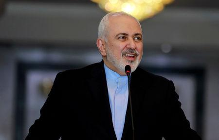 Iranian Foreign Minister Mohammad Javad Zarif speaks during a news conference with Iraqi Foreign Minister Mohamed Ali Alhakim, in Baghdad