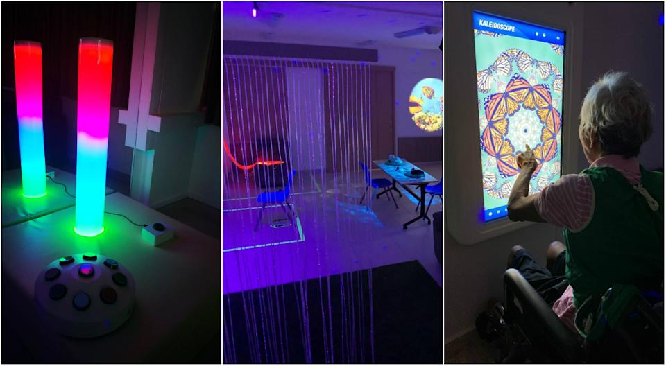 THK Nursing Home's sensory room comes with a giant LED rainbow tube and interactive panels with apps. (PHOTOS: THK Nursing Home)
