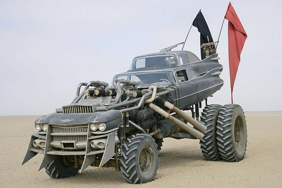 "<p>Rabid Mad Max fans eagerly awaited the return of the franchise when <em>Mad Max: Fury Road</em> was announced for a 2015 launch, three decades after the last installment. But few expected the movie to be packed with so many wild and innovative vehicles. It could certainly be argued that this latest movie had more interesting cars and trucks than any Mad Max before it. Perhaps the wildest of them all is the Gigahorse. </p><p>This beast looks like it should exist entirely in CG. But no, this is a real thing. Double '59 Cadillac bodies ride atop a massive truck chassis powered by twin Chevy big block V-8s that have both been supercharged. All that power turns massive tractor tires that give this monster the stance of a funny car dragster from the 1970s—on stilts.</p><p>Though the Gigahorse doesn't really do too much in terms of typical movie car stunts, it's so cool to look at that it's captivating to watch the thing just driving straight through the desert. The most memorable scene with the 'horse is in the long final chase of the movie, as the convoy enters a tight canyon, Max (Tom Hardy), Imperator Furiosa (Charlize Theron), and their crew finally kill Immortan Joe, the bad guy driving the Gigahorse. </p><p><a class=""link rapid-noclick-resp"" href=""https://www.amazon.com/gp/video/detail/0TZUGU34M6ERS1P05O1NRT8H5O/?tag=syn-yahoo-20&ascsubtag=%5Bartid%7C10054.g.27421711%5Bsrc%7Cyahoo-us"" rel=""nofollow noopener"" target=""_blank"" data-ylk=""slk:AMAZON"">AMAZON</a></p>"