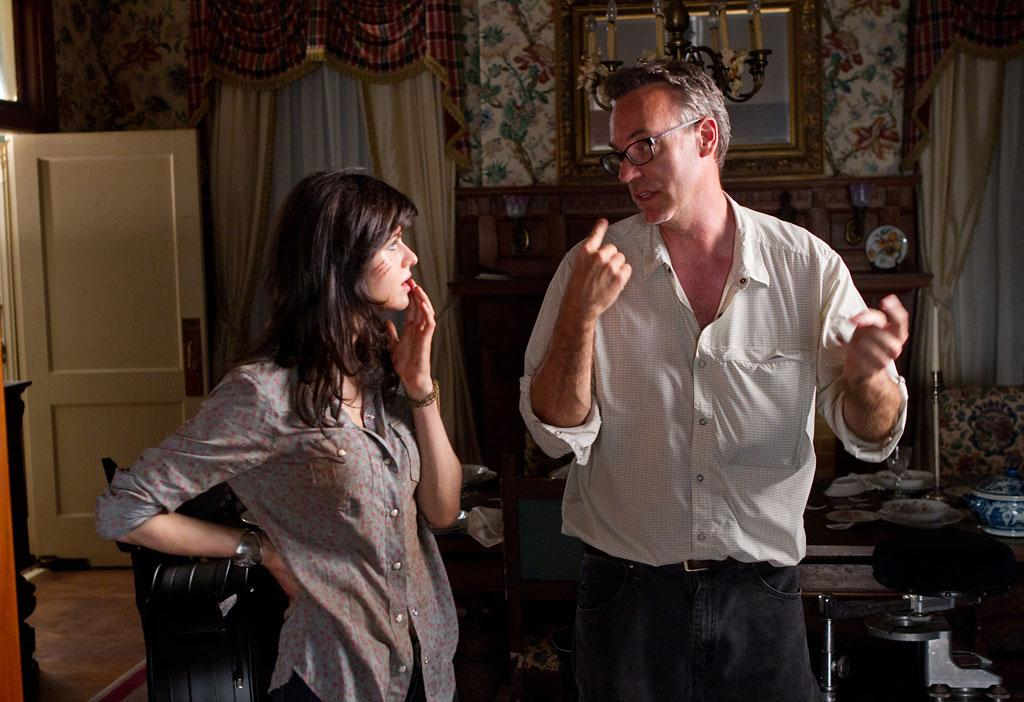 "Director John Luessenhop and Alexandra Daddario on the set of Lionsgate ""Texas Chainsaw 3D"" - 2013"