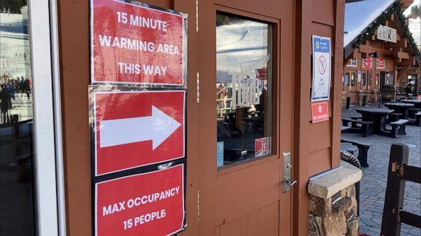 PHOTO: Signs for social distancing are seen at Breckenridge Ski Resort in Colorado, Jan. 2, 2021. (ABC News)
