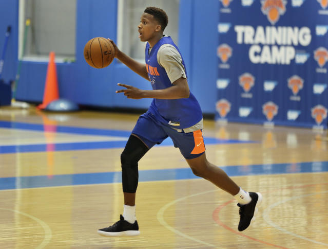 "<a class=""link rapid-noclick-resp"" href=""/nba/teams/nyk/"" data-ylk=""slk:New York Knicks"">New York Knicks</a> guard Frank Ntilikina is among the 2017 crop of imports trying to make an NBA impact. (AP Photo/Seth Wenig)"