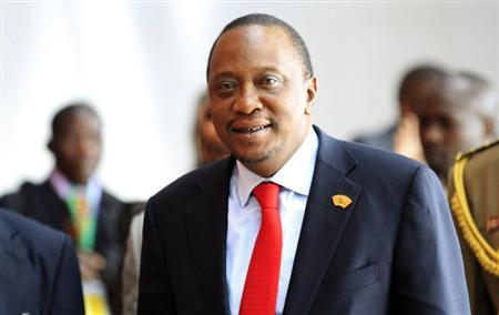 Kenya's President Kenyatta arrives for a meeting in Addis Ababa