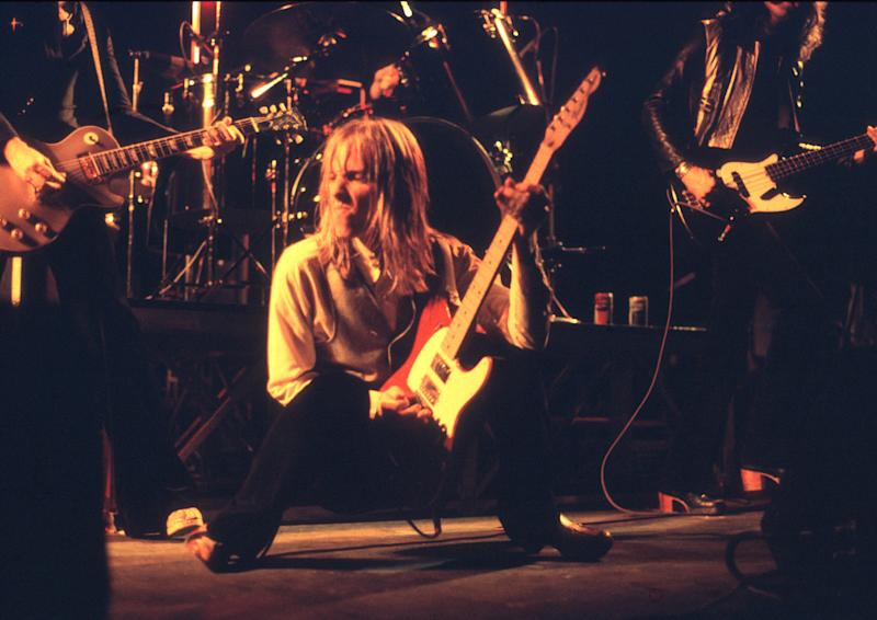 Tom Petty performs live onstage at the Hammersmith Odeon beforea concert on May 14, 1977.