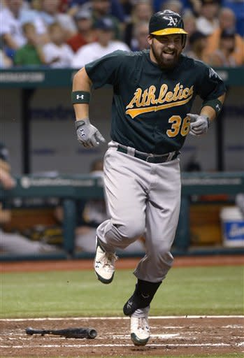 Oakland Athletics' Derek Norris reacts after being hit on the foot by a pitch from Tampa Bay Rays' Matt Moore during the fourth inning of a baseball game in St. Petersburg, Fla., Friday, Aug. 24, 2012. (AP Photo/Phelan M. Ebenhack)