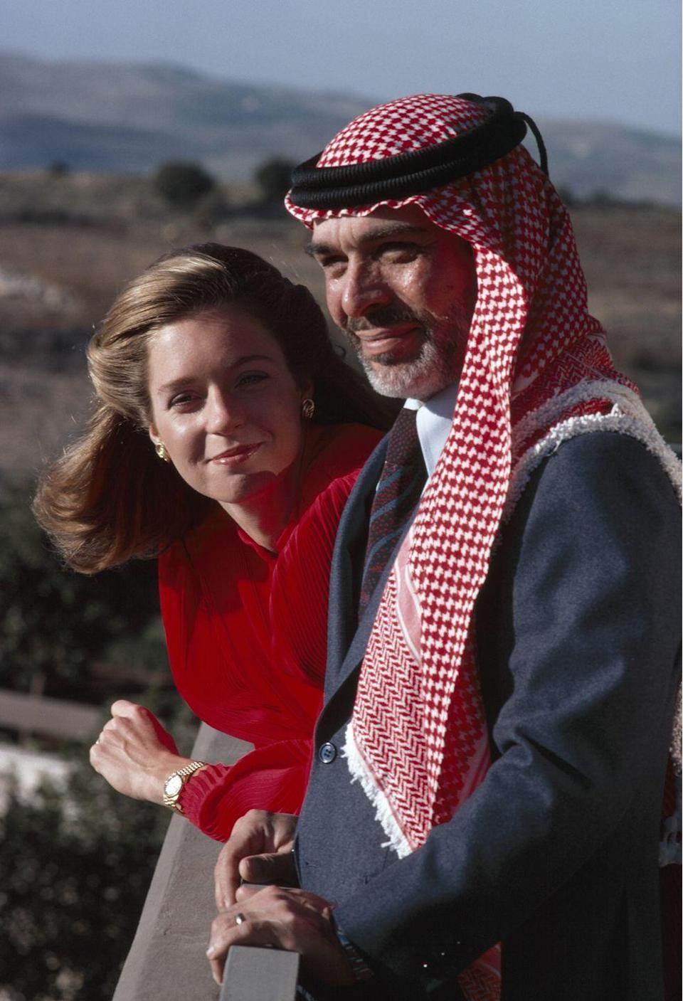 <p>Queen Noor, born in Washington, D.C. as Lisa Halaby, married King Hussein of Jordan in 1978 after meeting the previous year. The Princeton graduate worked in the airline industry and first met the king at the Queen Alia International Airport, named after his first wife who died in a helicopter crash. The couple stayed together until his death in 1999. </p>