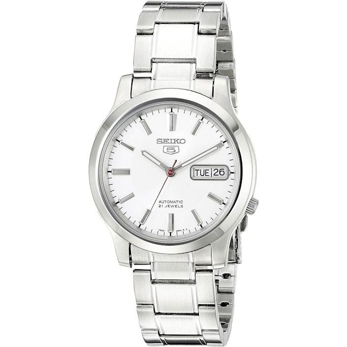 """<p><strong>Seiko</strong></p><p>amazon.com</p><p><strong>$83.66</strong></p><p><a href=""""https://www.amazon.com/dp/B0018N0HL0?tag=syn-yahoo-20&ascsubtag=%5Bartid%7C10054.g.35351418%5Bsrc%7Cyahoo-us"""" rel=""""nofollow noopener"""" target=""""_blank"""" data-ylk=""""slk:Shop Now"""" class=""""link rapid-noclick-resp"""">Shop Now</a></p><p>An easy, just-elevated-enough everyday option from a brand that aways delivers quality at sometimes-shockingly-low prices.</p>"""