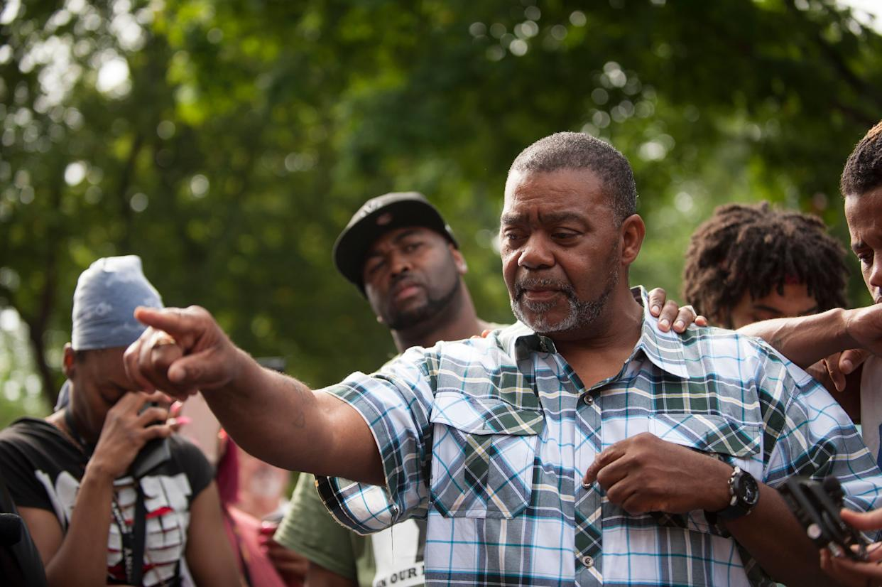 Clarence D. Castile, uncle of Philando Castile, speaks outside the Governor's Mansion on July 7, 2016 in St. Paul, Minnesota. Philando Castile was shot and killed last night, July 6, 2016, by a police officer in Falcon Heights, MN. (Photo by Stephen Maturen/Getty Images)